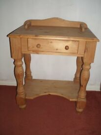 Small pine table, solid wood, natural finish (unwaxed) with drawer. Similar to washstand-type table.