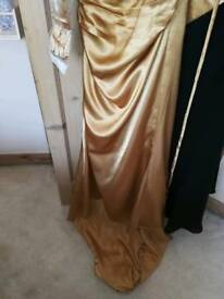 Gold ladies evening dress size 10