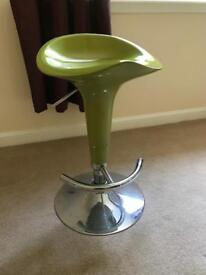 Bar stool with gas lift in lime green
