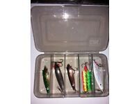 Box full of abu tobys And abu tackle box all brand new