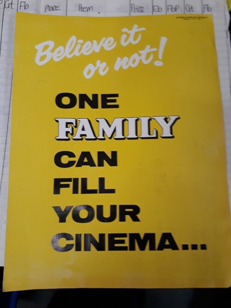 Kinematography Weekly - Believe it or not. Poster Ephemera Cutting sheet. Collectible. Vintage