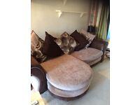 4+3 Sofa & Sofa Bed + Stool. 4 Seater Cushion Back Lounger Sofa + Stool and 3 Seater Sofa Bed