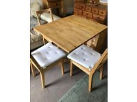 IKEA Norden Gateleg table and 3 chairs with cream seat pads