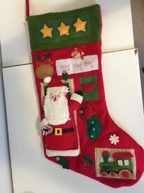 Red Large Christmas Stocking with hand-crafted decor all over the front