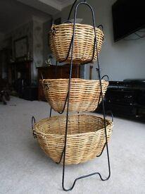 Three wicker baskets