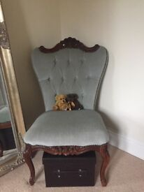 Occasional chair, buttoned light green soft velour fabric & dark wooden frame, antique style