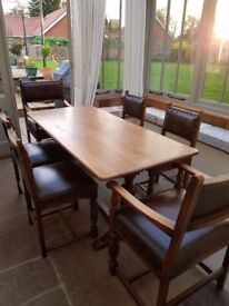 Solid Oak Refectory Table and Chairs