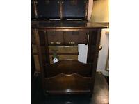 Pretty Vintage Oak Side Table / Magazine & Newspaper Rack Storage Shelf Stand