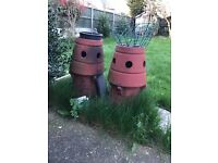 4 Victorian chimney pot terracotta