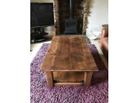 Solid English Oak Coffee Table with Hand Adzed Top