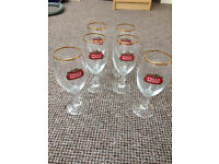 Stella Artois Beer Glasses with Gold Rim
