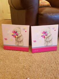 Pair of me to you tatty bear canvases