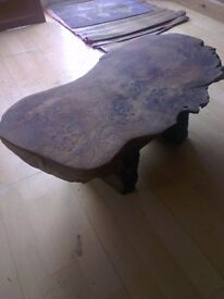 HAND-MADE BURL OAK JAPANESE STYLE TABLE - Danish Oil Finish