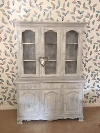 Solid pine Welsh dresser with galvanised wire door fronts
