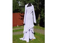 YVE London UK 14 Handmade Purple Lilac Occasion Formal Holiday Dress With Shawl