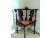 Reduced: Beautiful carved corner chair