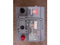 Brand new Yuasa 12 Volt car battery for sale.