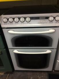 White Hotpoint 60cm ceramic hub electric cooker grill & double fan ovens with guarantee