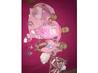 3 baby annabell dolls and accessories