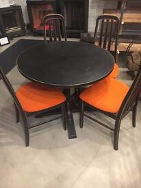 Up Cycled Time Worn Finish Table & 4 Chairs