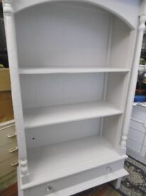 Painted Bookcase Shelving Cabinet with Drawer Tall French Shabby Chic.
