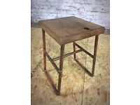 Handmade Oak Stool Recycled Frame Made From Copper Piping