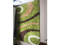 Shaggy carpet Rug. High Pile Long Pile Patterned in Green Black White, Size:160x220 cm