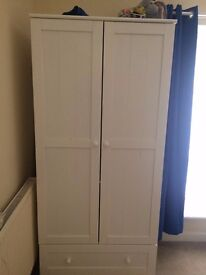 Mothercare White Childs Wardrobe and Matching chest with one drawer and double cupboard