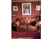 Italian Style Leather Chesterfield Suite and Stool