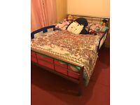 Brushed steel metal double bed frame