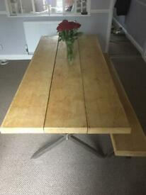 8 persons oak dinning table with industrial style frame