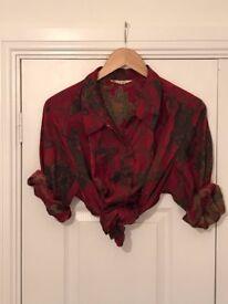 BURGUNDY RED WOMENS VINTAGE SHIRT GRUNGE HIPSTER 80S 90S