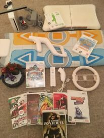 HUGE BUNDLE - Wii Console + Controller + Fit Board + Skylanders + Dance Mat + 9 Games + More