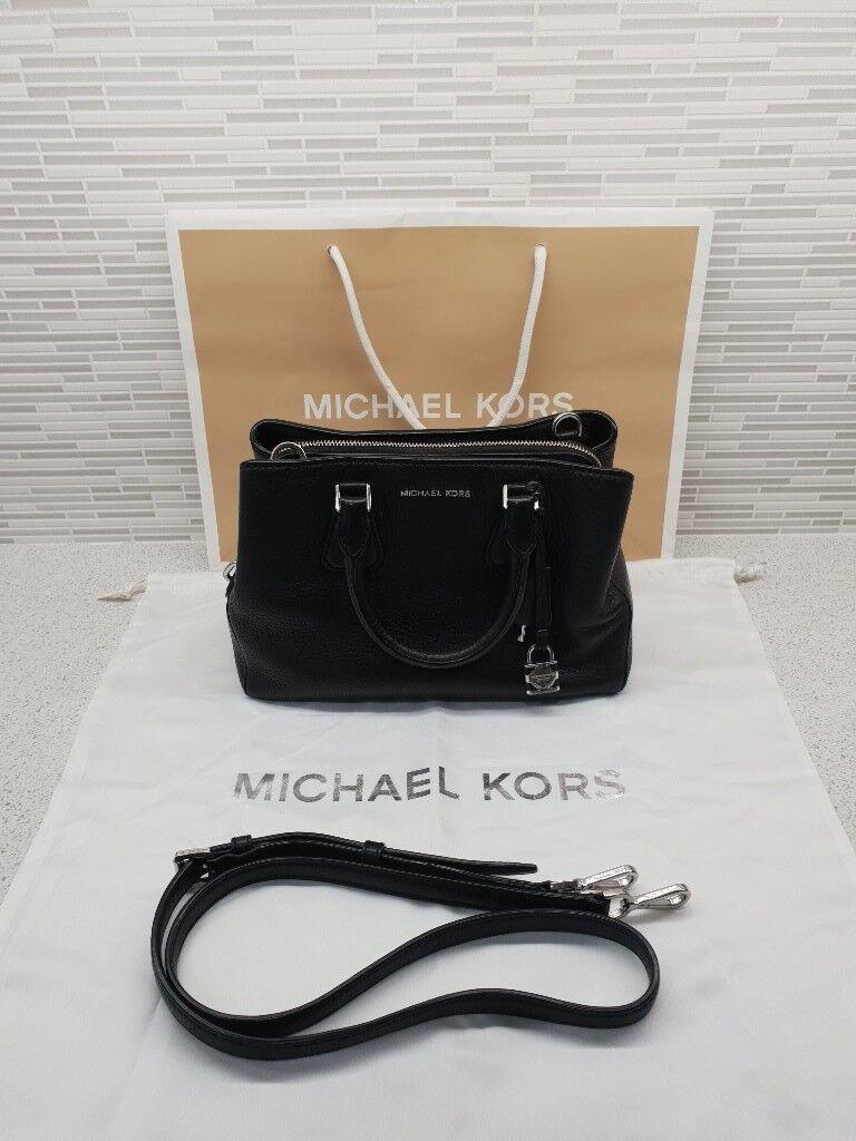 156370c51228 Genuine Michael Kors Camille Black Pebbled Leather Satchel Bag inc Dust Bag    Gift Bag