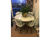 real Oak fold out dining Table and 4 real Oak chairs