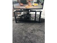 Tv stand table black glass