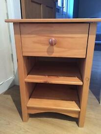 Pine bedside chest of drawers. £10.