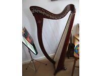 Harp Camac Hermine 34 string lever harp and case