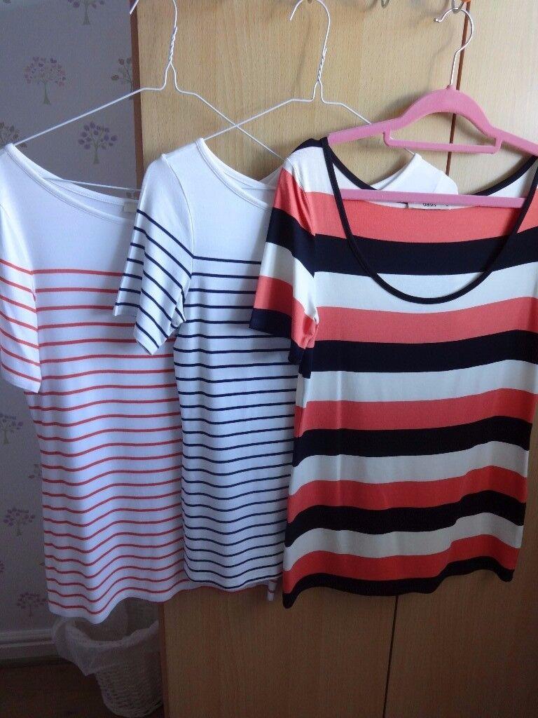 Oasis 3 x t-shirts striped size M - black, white & orange/white & orange/black & white