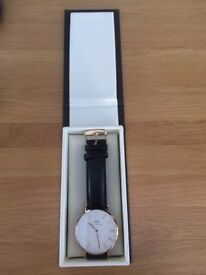 Daniel Wellington Quartz Watch Classic Sheffield Rose with Black Leather Strap 0107DW