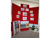 Exhibition Display Boards - set of 7 panels (6 main panels plus header panel)