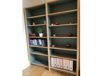 bookshelves, green with wood trim 166w x 204h x 37 deep approx