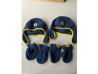 BOYS CONVERSE TWINS FLEECE HATS AND MITTENS (2 PAIRS) AGE 2-5