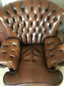 Vintage Brown leather Chesterfield armchair