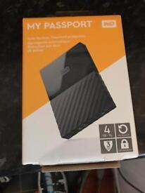 WD My Passport Portable Hard Drive - 4 TB, Black (brand new)