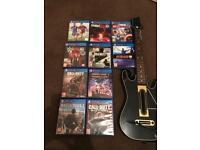 PS4 games plus guitar hero controller