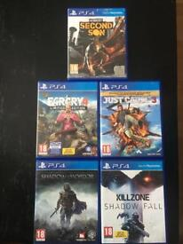 5x PS4 GAMES FOR SALE