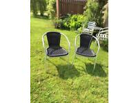 2 x black wicker & chrome patio seat outdoor garden chair