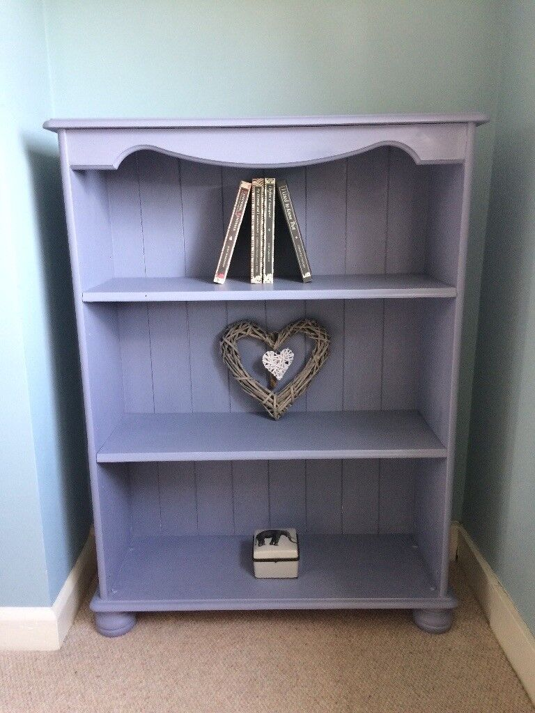 Solid Pine Bookcase With Adjustable Shelves Painted Blue Grey In Woodbridge Suffolk Gumtree