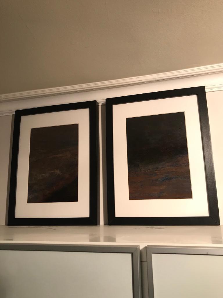 Art Wallart: 'Dark Storm'- diptych in acrylic, framed in glass
